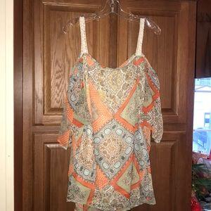 Dress Barn Westport Cold Shoulder Shirt Boho 3X